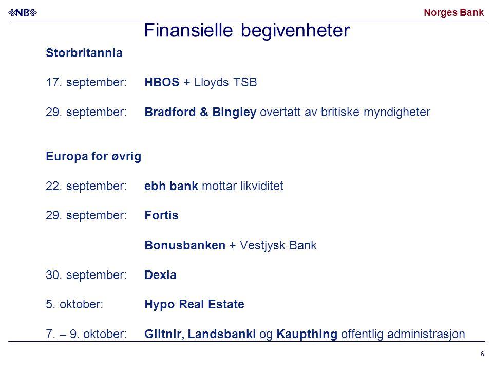 Norges Bank 6 Finansielle begivenheter Storbritannia 17.