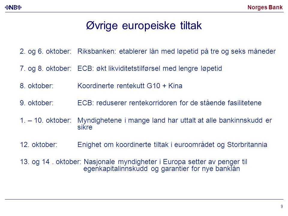 Norges Bank 9 Øvrige europeiske tiltak 2. og 6.