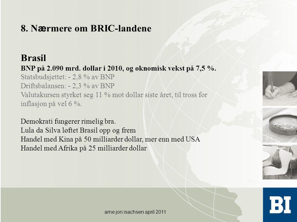 arne jon isachsen april 2011 8. N æ rmere om BRIC-landene Brasil BNP på 2.090 mrd. dollar i 2010, og øknomisk vekst på 7,5 %. Statsbudsjettet: - 2,8 %