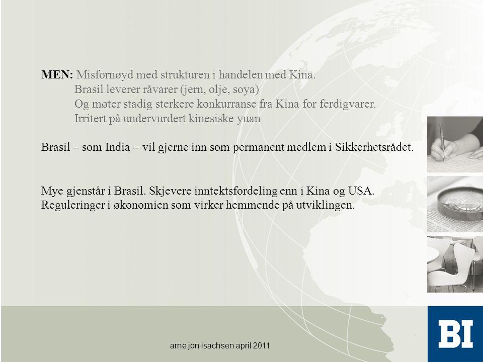 arne jon isachsen april 2011 MEN: Misfornøyd med strukturen i handelen med Kina. Brasil leverer råvarer (jern, olje, soya) Og møter stadig sterkere ko
