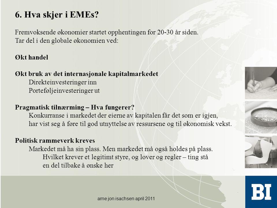 arne jon isachsen april 2011 6. Hva skjer i EMEs? Fremvoksende økonomier startet opphentingen for 20-30 år siden. Tar del i den globale økonomien ved: