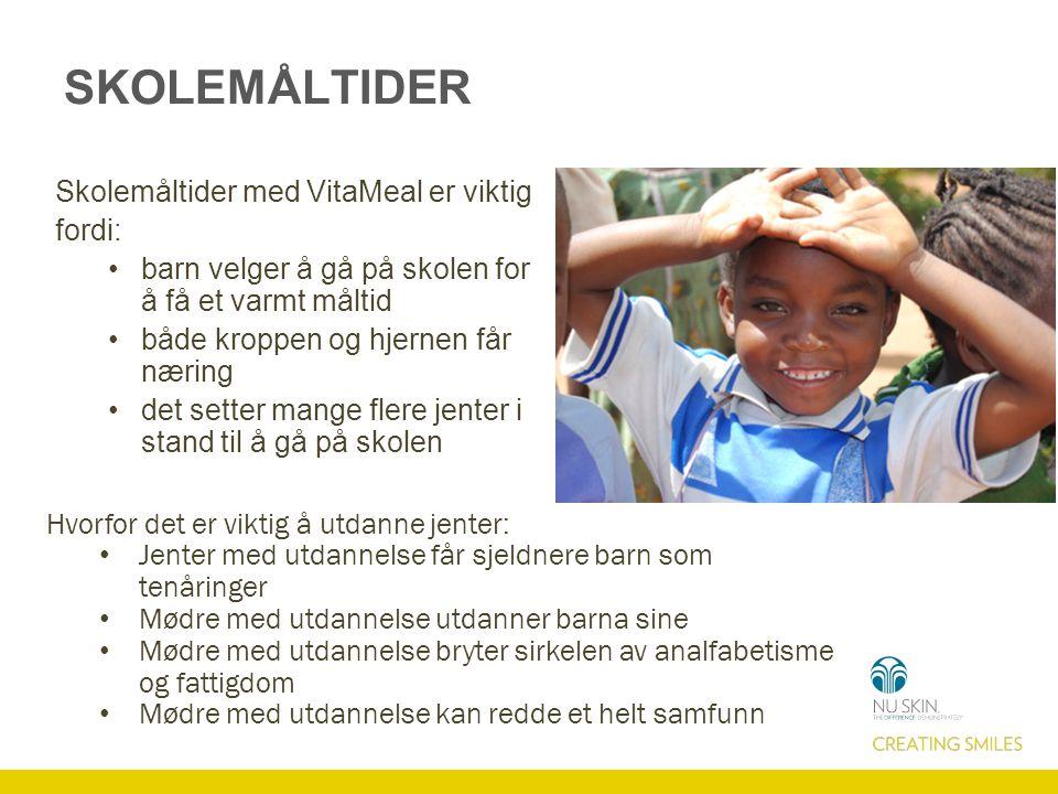 SKOLEMÅLTIDER Skolemåltider med VitaMeal er viktig fordi: barn velger å gå på skolen for å få et varmt måltid både kroppen og hjernen får næring det s