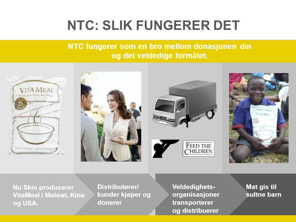 Distributører/ kunder kjøper og donerer Veldedighets- organisasjoner transporterer og distribuerer Mat gis til sultne barn Nu Skin produserer VitaMeal