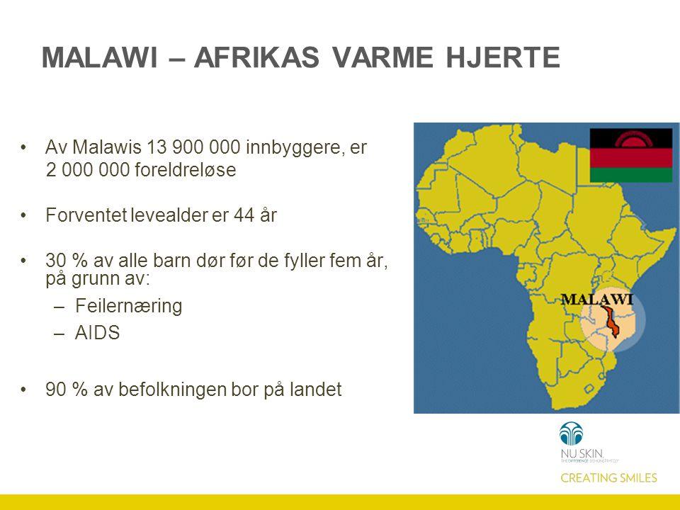 Av Malawis 13 900 000 innbyggere, er 2 000 000 foreldreløse Forventet levealder er 44 år 30 % av alle barn dør før de fyller fem år, på grunn av: –Feilernæring –AIDS 90 % av befolkningen bor på landet MALAWI – AFRIKAS VARME HJERTE