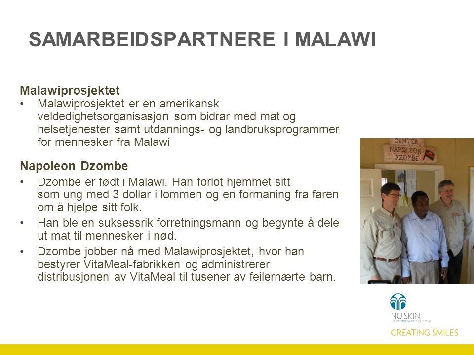 SAMARBEIDSPARTNERE I MALAWI Malawiprosjektet Malawiprosjektet er en amerikansk veldedighetsorganisasjon som bidrar med mat og helsetjenester samt utda