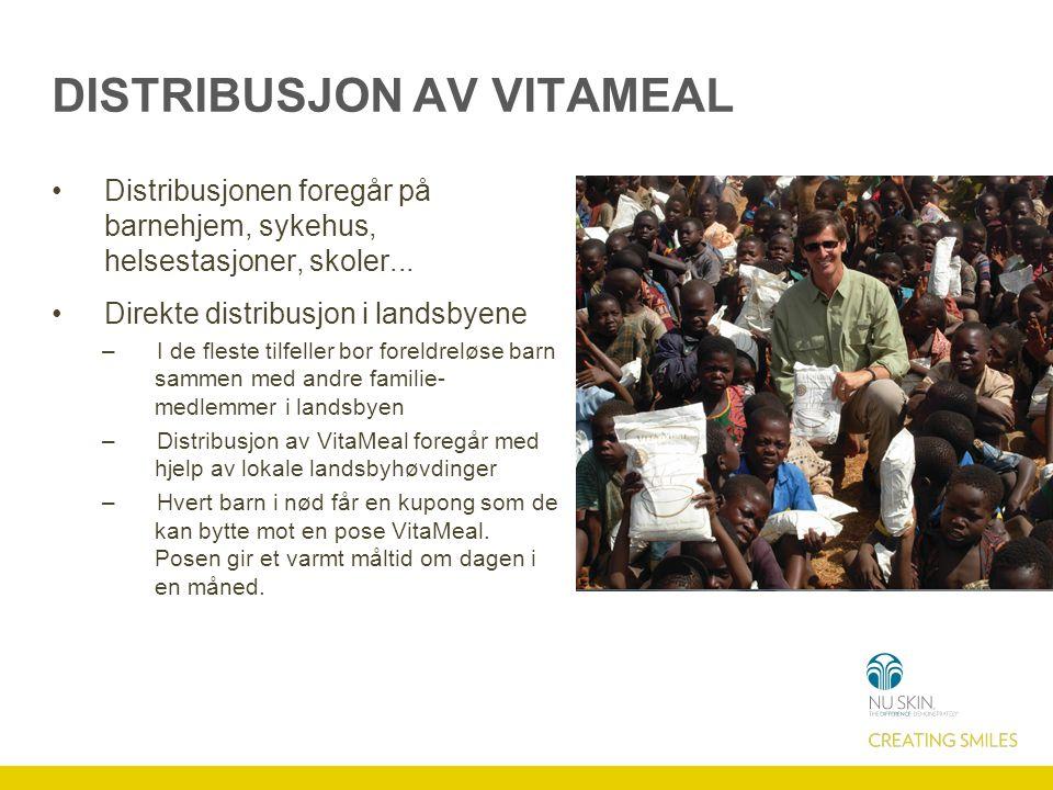 DISTRIBUSJON AV VITAMEAL Distribusjonen foregår på barnehjem, sykehus, helsestasjoner, skoler... Direkte distribusjon i landsbyene –I de fleste tilfel