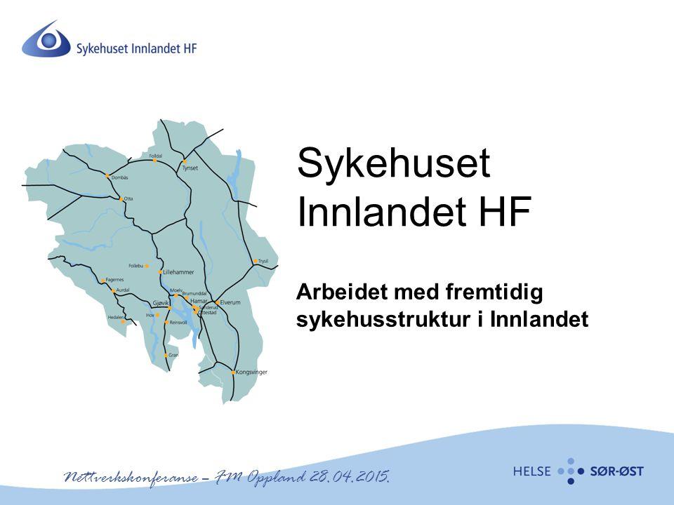 Sykehuset Innlandet HF Arbeidet med fremtidig sykehusstruktur i Innlandet Nettverkskonferanse – FM Oppland 28.04.2015.