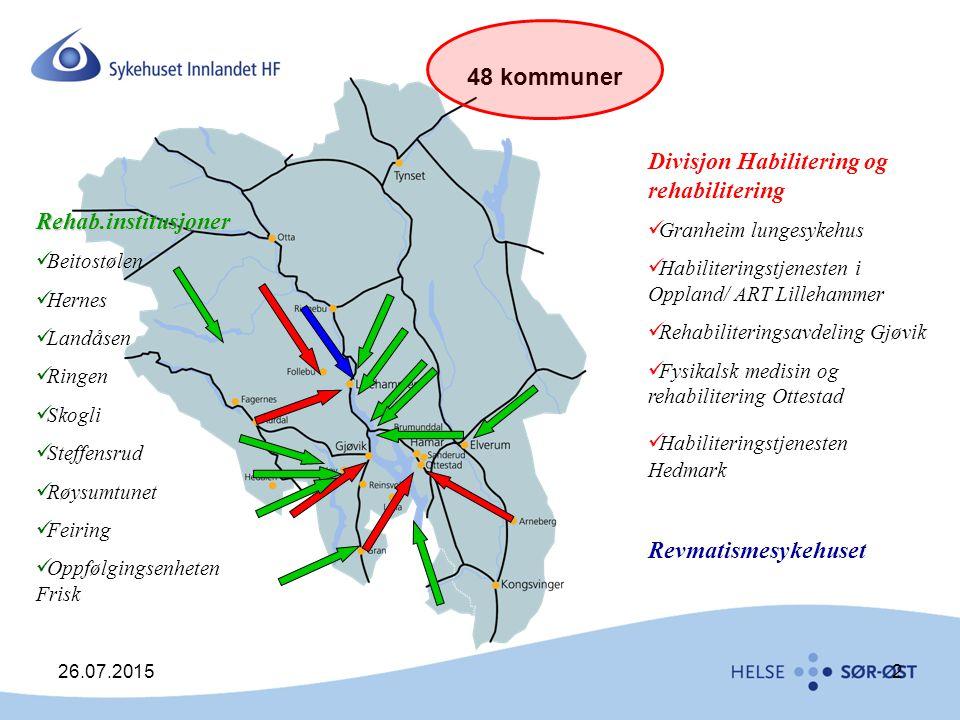 26.07.20152 Divisjon Habilitering og rehabilitering Granheim lungesykehus Habiliteringstjenesten i Oppland/ ART Lillehammer Rehabiliteringsavdeling Gj
