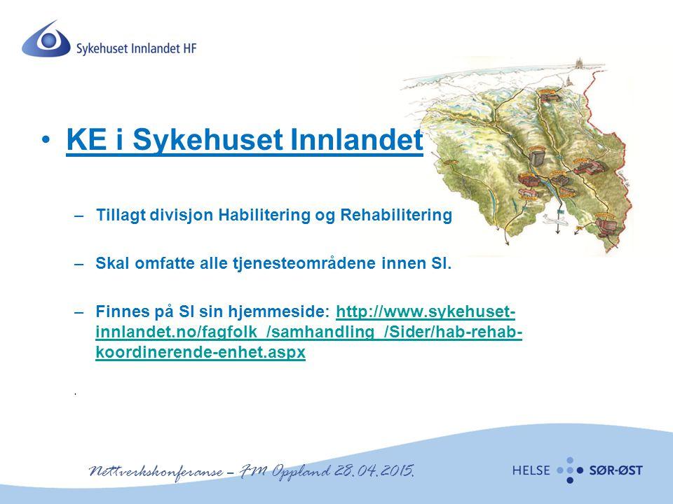 KE i Sykehuset Innlandet –Tillagt divisjon Habilitering og Rehabilitering –Skal omfatte alle tjenesteområdene innen SI. –Finnes på SI sin hjemmeside: