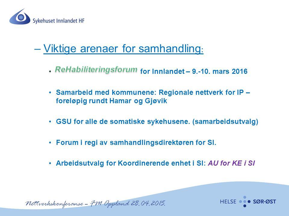 Nettverkskonferanse – FM Oppland 28.04.2015. –Viktige arenaer for samhandling : for Innlandet – 9.-10. mars 2016 Samarbeid med kommunene: Regionale ne