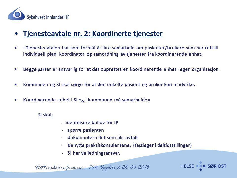 Nettverkskonferanse – FM Oppland 28.04.2015. Tjenesteavtale nr. 2: Koordinerte tjenester «Tjenesteavtalen har som formål å sikre samarbeid om pasiente