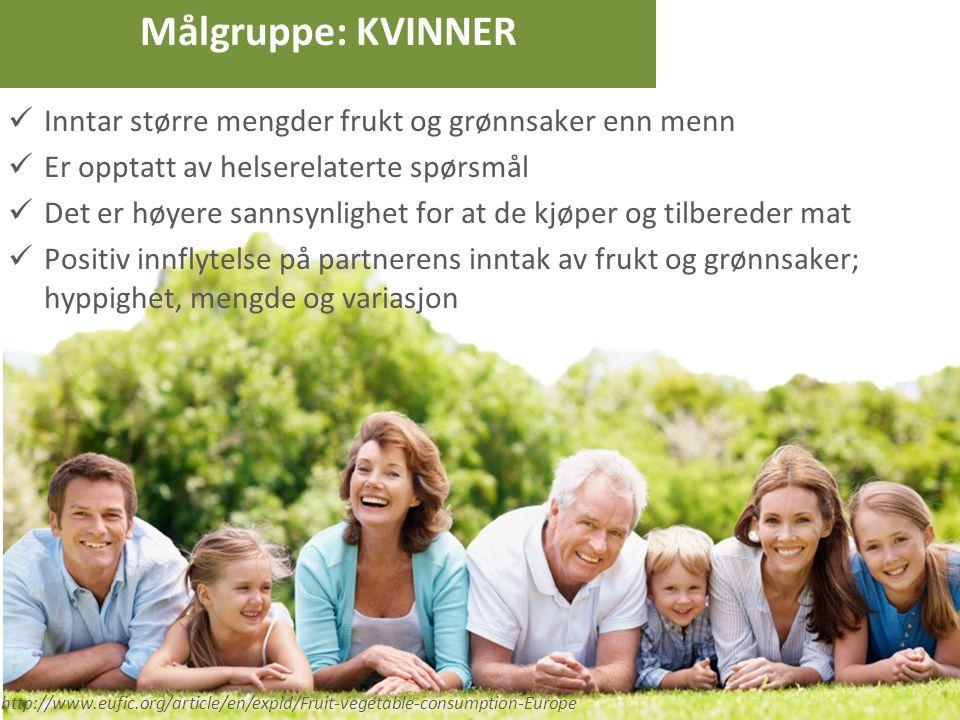 Målgruppe: KVINNER Inntar større mengder frukt og grønnsaker enn menn Er opptatt av helserelaterte spørsmål Det er høyere sannsynlighet for at de kjøp