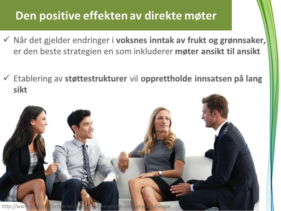 Den positive effekten av direkte møter Når det gjelder endringer i voksnes inntak av frukt og grønnsaker, er den beste strategien en som inkluderer mø