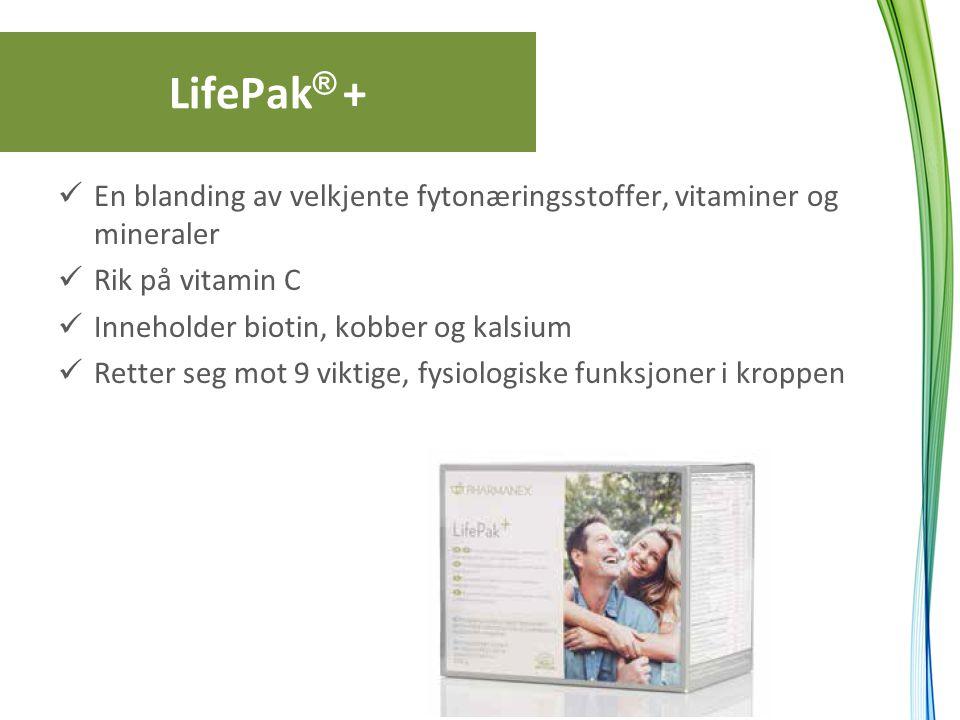 LifePak ® + En blanding av velkjente fytonæringsstoffer, vitaminer og mineraler Rik på vitamin C Inneholder biotin, kobber og kalsium Retter seg mot 9