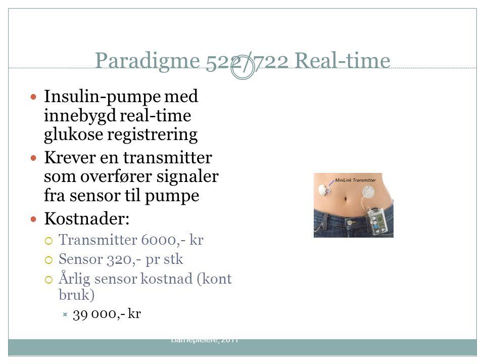 Paradigme 522/722 Real-time Insulin-pumpe med innebygd real-time glukose registrering Krever en transmitter som overfører signaler fra sensor til pump