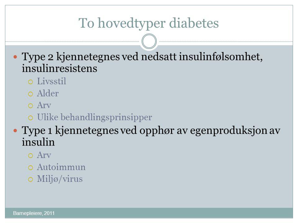 To hovedtyper diabetes Barnepleiere, 2011 Type 2 kjennetegnes ved nedsatt insulinfølsomhet, insulinresistens  Livsstil  Alder  Arv  Ulike behandli