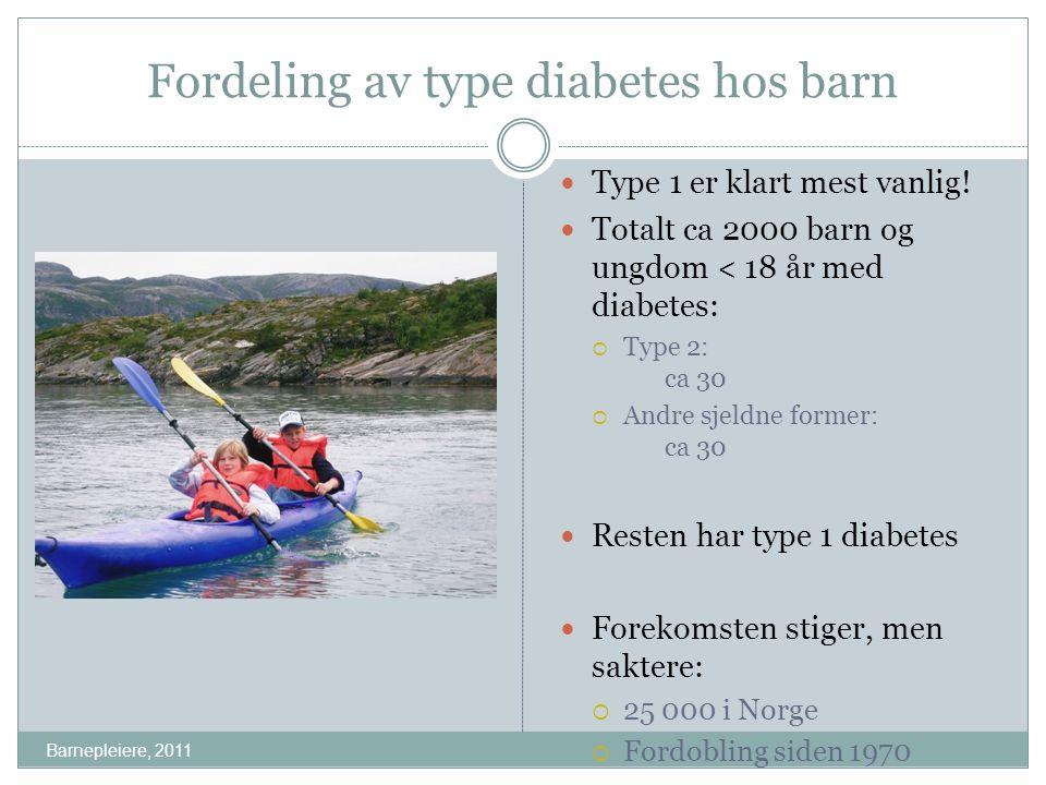 Fordeling av type diabetes hos barn Type 1 er klart mest vanlig! Totalt ca 2000 barn og ungdom < 18 år med diabetes:  Type 2: ca 30  Andre sjeldne f