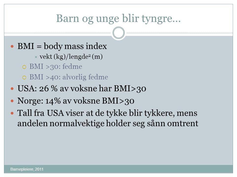 Barn og unge blir tyngre… Barnepleiere, 2011 BMI = body mass index  vekt (kg)/lengde 2 (m)  BMI >30: fedme  BMI >40: alvorlig fedme USA: 26 % av vo