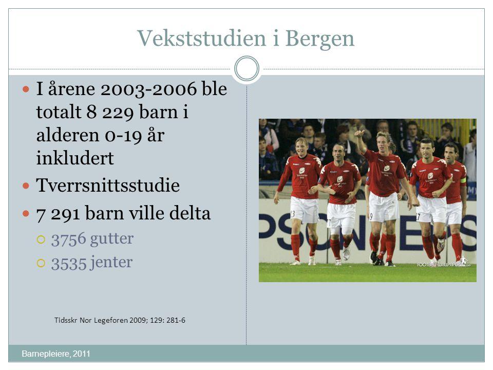 Vekststudien i Bergen I årene 2003-2006 ble totalt 8 229 barn i alderen 0-19 år inkludert Tverrsnittsstudie 7 291 barn ville delta  3756 gutter  353