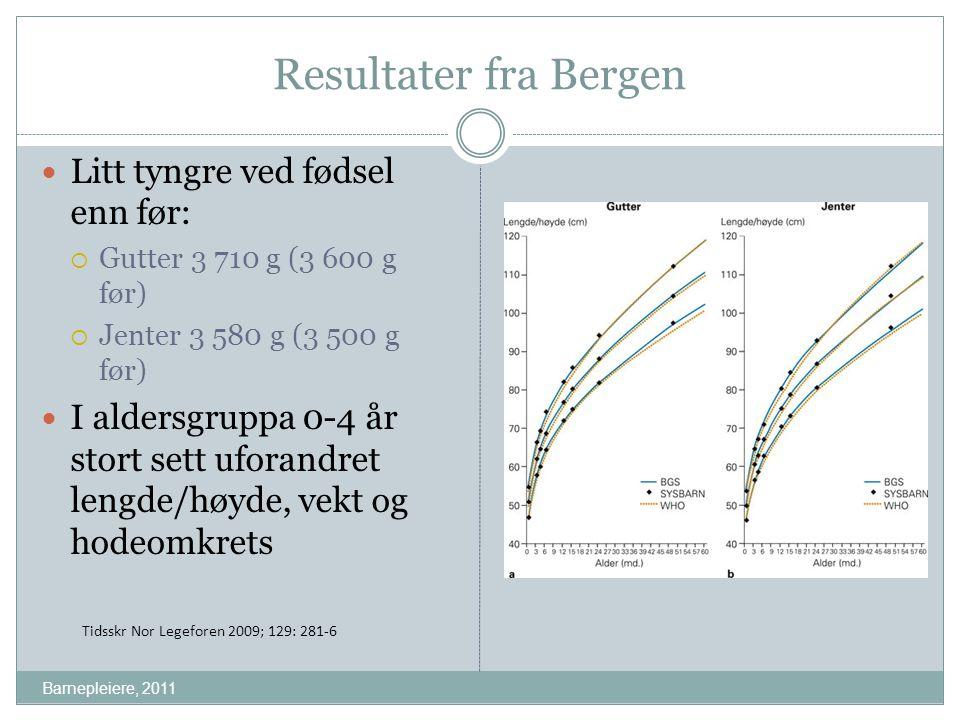 Resultater fra Bergen Litt tyngre ved fødsel enn før:  Gutter 3 710 g (3 600 g før)  Jenter 3 580 g (3 500 g før) I aldersgruppa 0-4 år stort sett u
