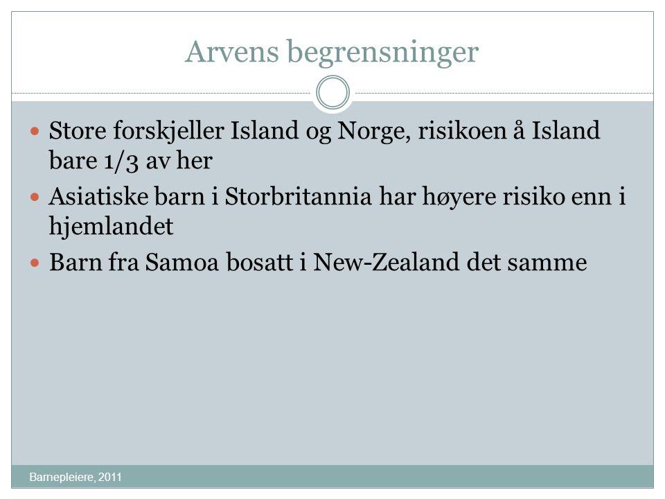 Arvens begrensninger Barnepleiere, 2011 Store forskjeller Island og Norge, risikoen å Island bare 1/3 av her Asiatiske barn i Storbritannia har høyere