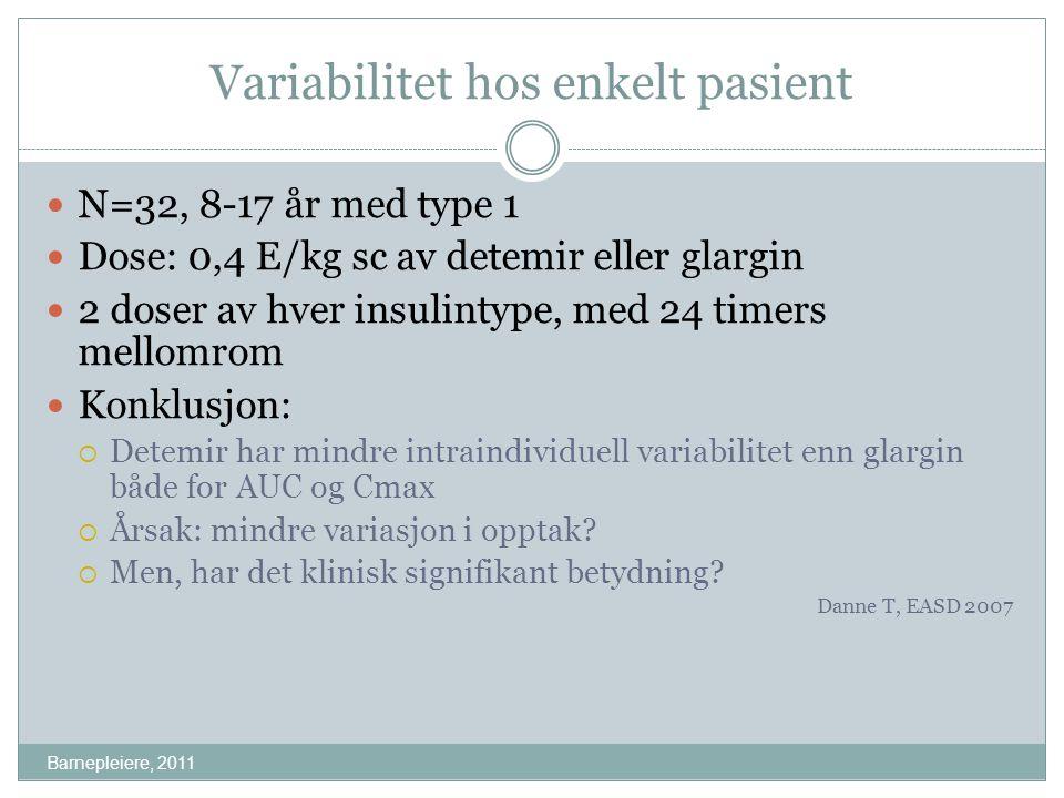 Variabilitet hos enkelt pasient Barnepleiere, 2011 N=32, 8-17 år med type 1 Dose: 0,4 E/kg sc av detemir eller glargin 2 doser av hver insulintype, me