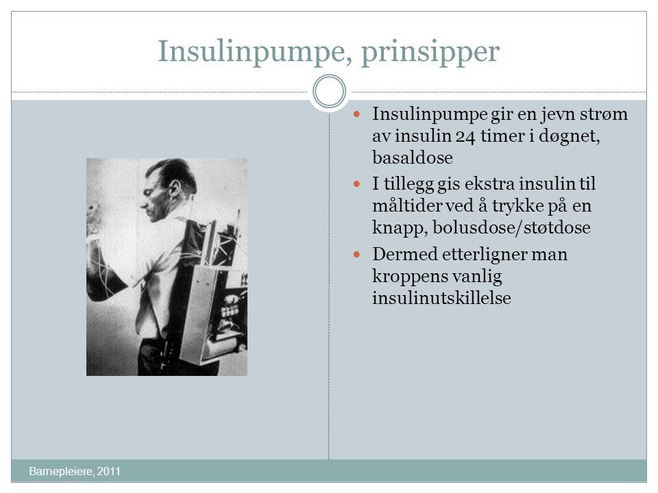 Insulinpumpe, prinsipper Insulinpumpe gir en jevn strøm av insulin 24 timer i døgnet, basaldose I tillegg gis ekstra insulin til måltider ved å trykke
