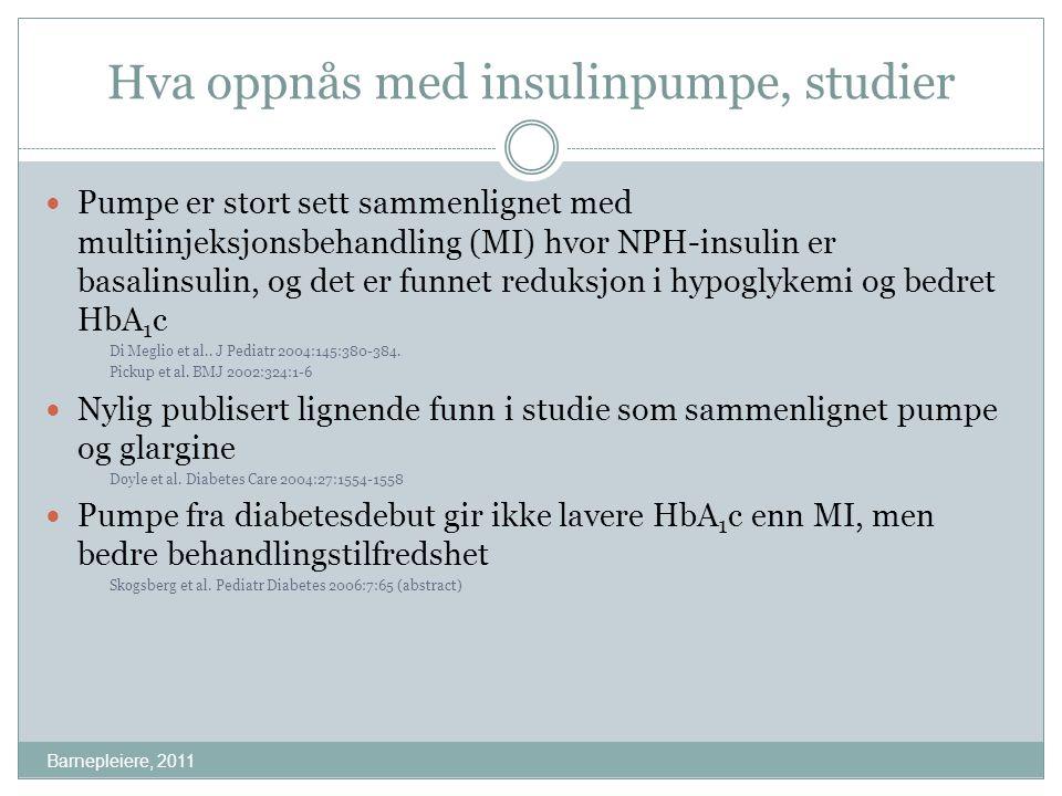 Hva oppnås med insulinpumpe, studier Barnepleiere, 2011 Pumpe er stort sett sammenlignet med multiinjeksjonsbehandling (MI) hvor NPH-insulin er basali