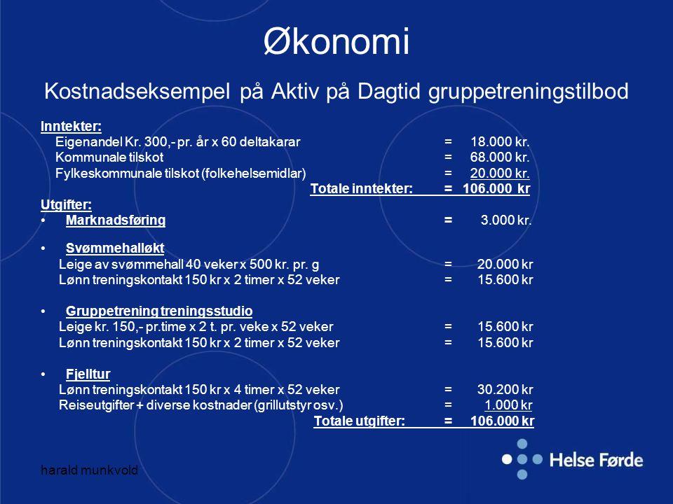 harald munkvold Aktiv på Dagtid Førde (pr.23.05.08) Målet var 3900 treningsbesøk i ApD Førde i 2007.