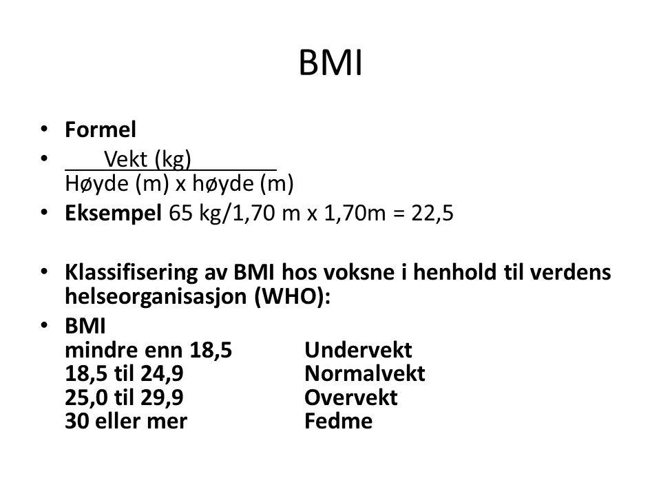 BMI Formel Vekt (kg) Høyde (m) x høyde (m) Eksempel 65 kg/1,70 m x 1,70m = 22,5 Klassifisering av BMI hos voksne i henhold til verdens helseorganisasj