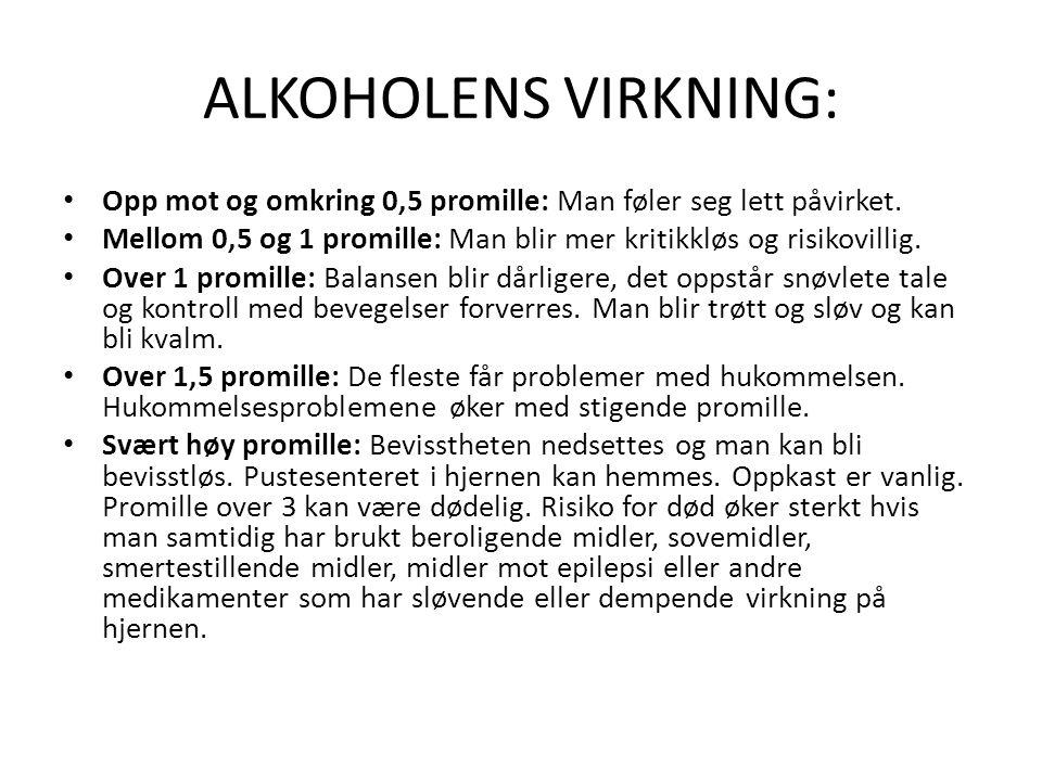 ALKOHOLENS VIRKNING: Opp mot og omkring 0,5 promille: Man føler seg lett påvirket. Mellom 0,5 og 1 promille: Man blir mer kritikkløs og risikovillig.