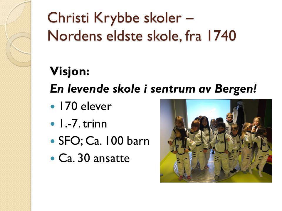 Christi Krybbe skoler – Nordens eldste skole, fra 1740 Visjon: En levende skole i sentrum av Bergen! 170 elever 1.-7. trinn SFO; Ca. 100 barn Ca. 30 a