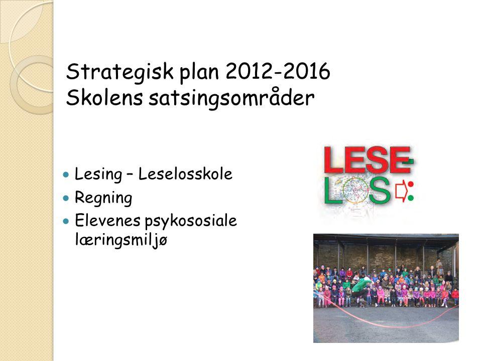  Lesing – Leselosskole  Regning  Elevenes psykososiale læringsmiljø Strategisk plan 2012-2016 Skolens satsingsområder