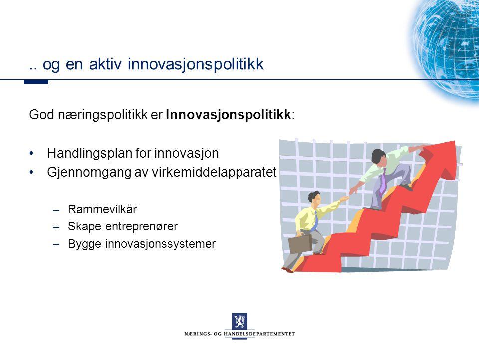 .. og en aktiv innovasjonspolitikk God næringspolitikk er Innovasjonspolitikk: Handlingsplan for innovasjon Gjennomgang av virkemiddelapparatet –Ramme