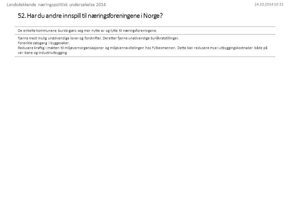 24.10.2014 10:21 52. Har du andre innspill til næringsforeningene i Norge.