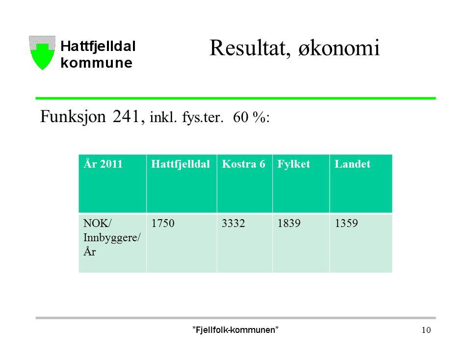 Resultat, økonomi Funksjon 241, inkl. fys.ter.