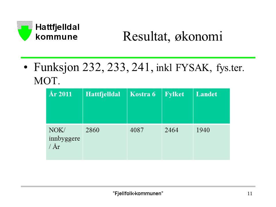 Resultat, økonomi Funksjon 232, 233, 241, inkl FYSAK, fys.ter.