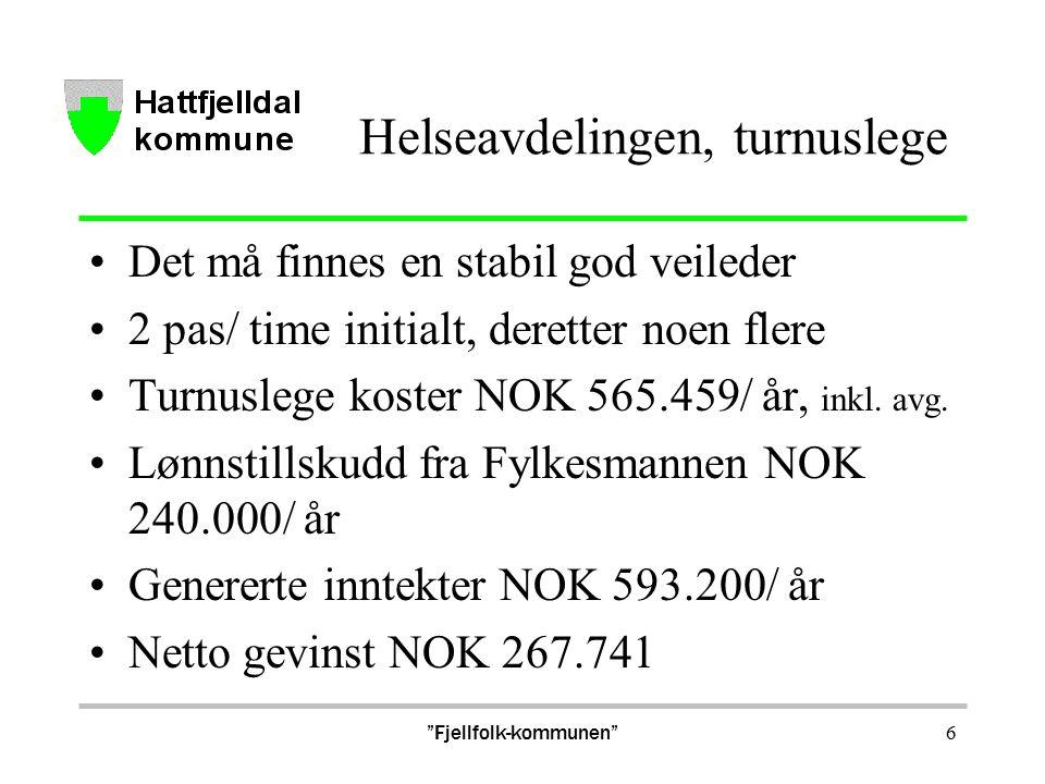 Helseavdelingen, turnuslege Det må finnes en stabil god veileder 2 pas/ time initialt, deretter noen flere Turnuslege koster NOK 565.459/ år, inkl.