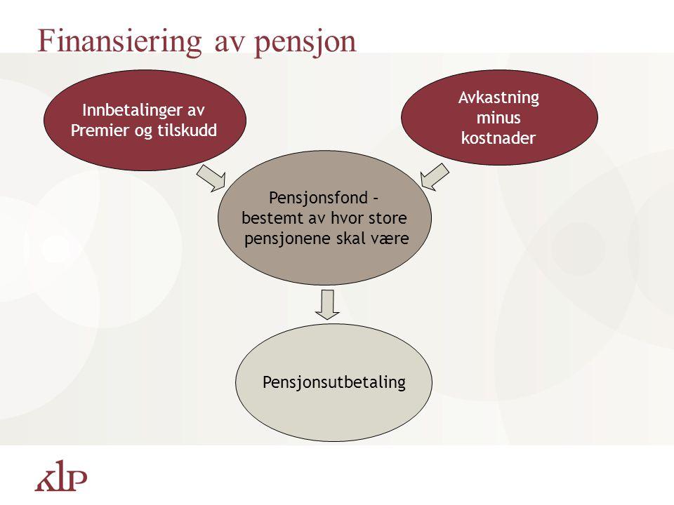 Finansiering av pensjon Innbetalinger av Premier og tilskudd Pensjonsfond – bestemt av hvor store pensjonene skal være Avkastning minus kostnader Pens