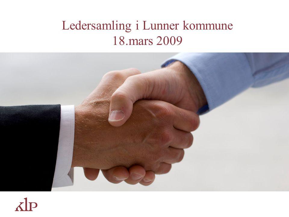 Agenda Lunner kommune – en eier av KLP Offentlig tjenestepensjon – et gode for de ansatte Hvordan finansieres de kommuneansattes gode pensjonsordning.