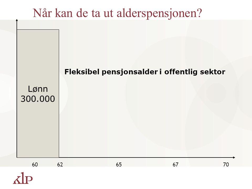 Lønn 300.000 6062656770 Når kan de ta ut alderspensjonen? Fleksibel pensjonsalder i offentlig sektor