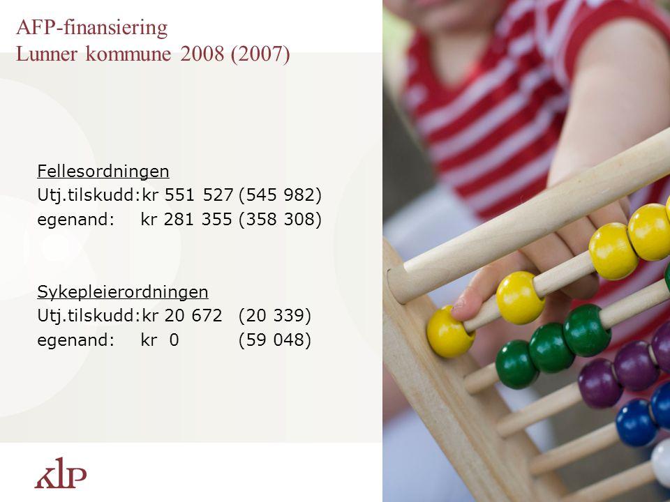 AFP-finansiering Lunner kommune 2008 (2007) Fellesordningen Utj.tilskudd:kr 551 527(545 982) egenand: kr 281 355(358 308) Sykepleierordningen Utj.tils