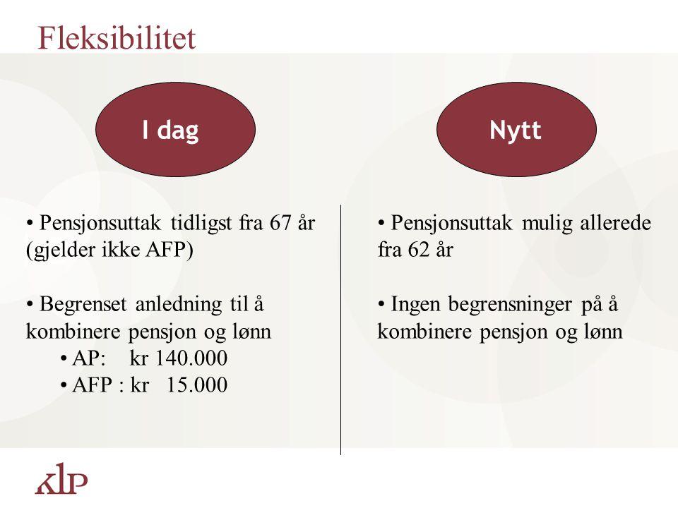 Fleksibilitet Pensjonsuttak tidligst fra 67 år (gjelder ikke AFP) Begrenset anledning til å kombinere pensjon og lønn AP: kr 140.000 AFP : kr 15.000 N