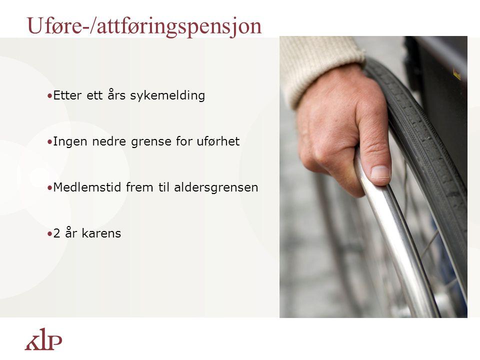 Uføre-/attføringspensjon Etter ett års sykemelding Ingen nedre grense for uførhet Medlemstid frem til aldersgrensen 2 år karens