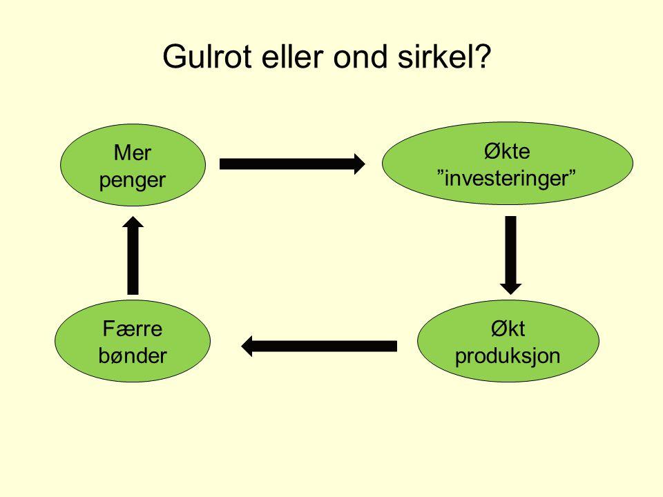 Gulrot eller ond sirkel? Mer penger Økte investeringer Økt produksjon Færre bønder