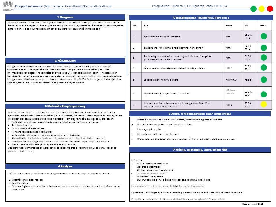1 Bakgrunn 6 Andre forbedringstiltak (mer langsiktige) 3 Mål/målsetting/avgrensing 7 Måling, oppfølging, sikre effekt /BC Prosjektbeskrivelse (A3).
