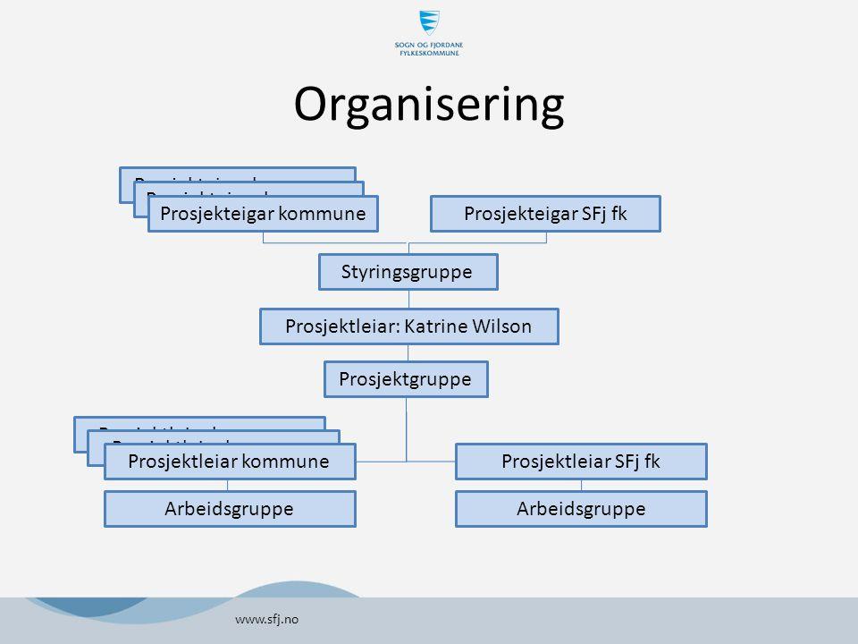 Organisering www.sfj.no Prosjekteigar kommune Styringsgruppe Prosjektleiar: Katrine Wilson Prosjektgruppe Prosjektleiar SFj fk Prosjekteigar SFj fk Pr