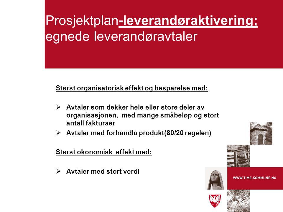 Prosjektplan-leverandøraktivering; egnede leverandøravtaler Størst organisatorisk effekt og besparelse med:  Avtaler som dekker hele eller store dele