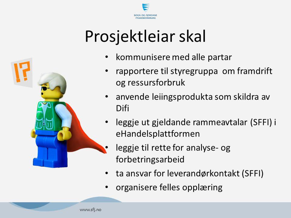 Prosjektleiar skal kommunisere med alle partar rapportere til styregruppa om framdrift og ressursforbruk anvende leiingsprodukta som skildra av Difi l