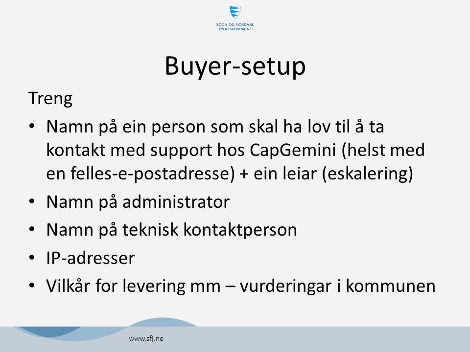Buyer-setup Treng Namn på ein person som skal ha lov til å ta kontakt med support hos CapGemini (helst med en felles-e-postadresse) + ein leiar (eskal